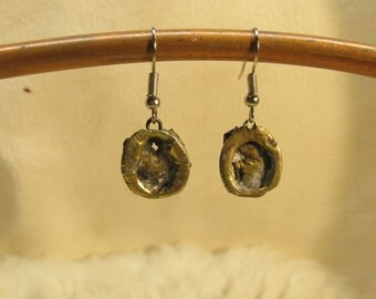 Molten bronze dangle earrings