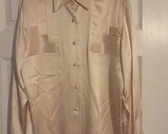 Cache silk cream blouse