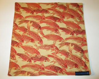 Beautiful Asian Koi fabric set with great calligraphy back side