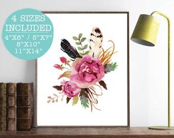 Floral Printable, Floral Nursery Decor, Floral Print, Printable Floral Art, Watercolor Flower Print, Shabby Chic Print, Floral Wall Art