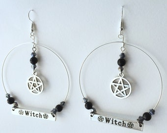 Witch Earrings, Witch Pentacle, Gothic Earrings, Gothic Jewelry, Pentacle Earrings, Beaded Hoop Earrings, Witchy Jewelry, Gypsy Earrings