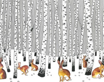 Hare Wood - Card OR Mounted  Print -  inspired by Harewood in West Yorkshire / hares / british wildlife / silver birch trees