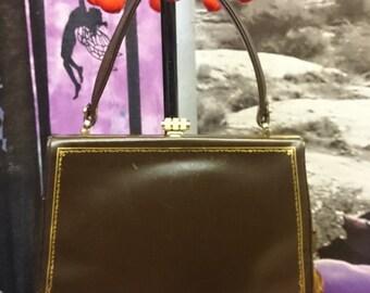 Vintage 1960s Brown Leather Handbag