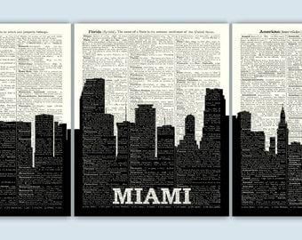 Miami Skyline Triptych, Miami Art Print, Miami Decor, Miami Wall Art, Miami Poster, Miami Gift, Set of 3 Prints