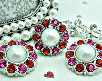 WHITE Pearl Buttons W/ Red & Hot Pink Surrounding Rhinestones Valentine Buttons Bridal Bouquets Button Bouquets 25mm 2997 09P 3 24R