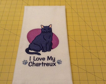 I Love My Chartreux Cat Embroidered Martha Stewart Kitchen Hand Towel, 100% cotton X-Large 20x30