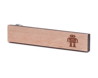Robot Tie Clip, Wood, Gift For Him, Wedding Gifts, Groomsman Gifts, and Personalized