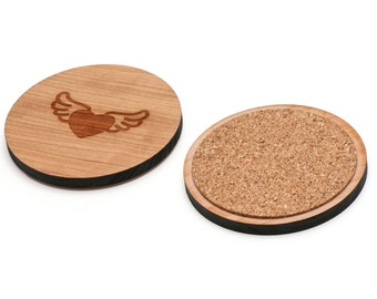 Heart Wings Wooden Coasters Set of 4, Gifts For Him, Wedding Gifts, Groomsman Gifts, and Personalized