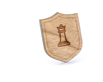 Chess Queen Lapel Pin, Wooden Pin, Wooden Lapel, Gift For Him or Her, Wedding Gifts, Groomsman Gifts, and Personalized