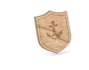Sailor Anchor Lapel Pin, Wooden Pin, Wooden Lapel, Gift For Him or Her, Wedding Gifts, Groomsman Gifts, and Personalized