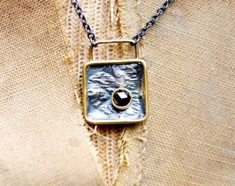 Rose cut diamond, silver and high karat gold pendant with oxidized silver chain