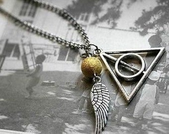 Deathly Hallows Inspired Golden Snitch Pendant Necklace.