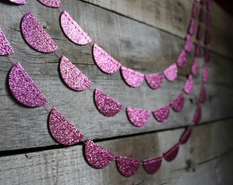 Pink Baby Shower Decor - Glitter Paper Garland - Baby Shower Decor - Party Backdrop