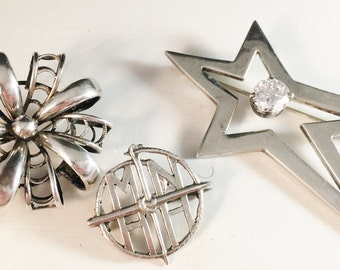 3 Sterling Silver Brooches