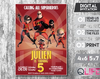 THE INCREDIBLES Digital Invitation Card, Personalized Invitation, The Incredibles Party, The Incredibles Digital Invitation