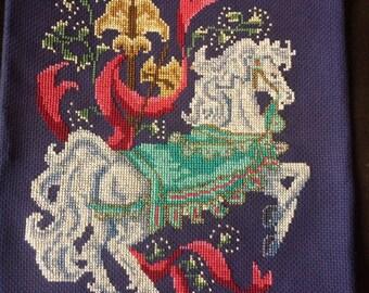 White Horse Carousel Cross Stitch Art