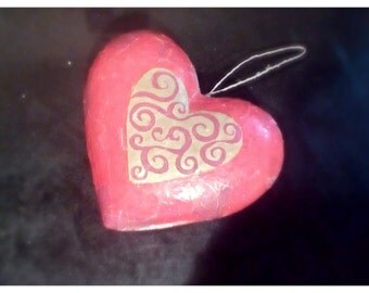 Decoupage vintage looking large heart.