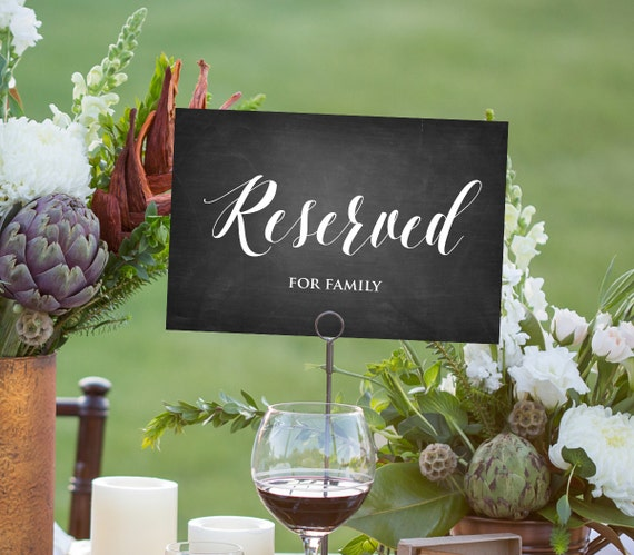 Reserved Sign Template, INSTANT DOWNLOAD, Editable PDF Template, DiY Wedding Reserved Folded Tent Printable, Simple Chalkboard
