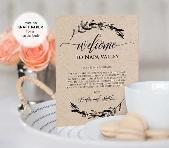 wedding welcome bag letter insert welcome bag note wedding