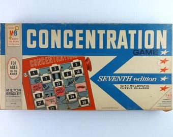 Vintage Concentration Game Milton Bradley Seventh Edition 1964 Made in USA Concentration TV Show