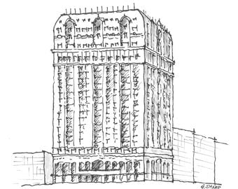 Print: The Blackstone Hotel, Chicago, IL (Pen and Ink Rendering)