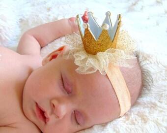 Princess headband, crown baby headband, pink baby girl headband, baby hair bows, newborn headbands, pink crown, baby headbands