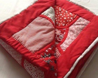 Random Reds and White hand made Quilt