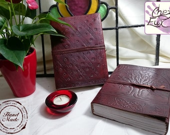 Handmade Tree of Life Fully Embossed Leather Journal with Leather Thong Closure