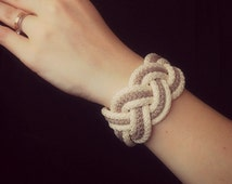 big white and linnen gray rope bracelets, synthetic armband, cord bangles, Turk's Head Bracelet,  Sailor Knot bracelets