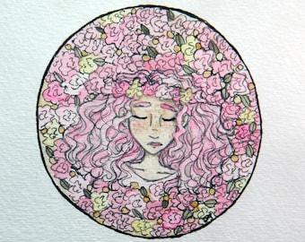 Pink Roses   Original Watercolor   5x5
