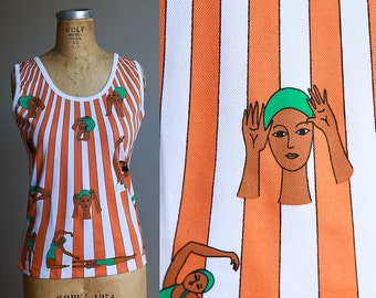 Funky 1970s Graphic Swimmer Print Tank Top