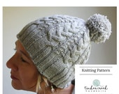 Knitting Pattern for Womens Cable Knit Hat, Knitting Patterns, Womens Pom Pom Hat, Knit Pom Hat Knitting Pattern, Pom Pom Beanie Hat