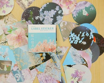 Stickers with Japanese design of plants and trees