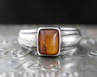 Art Deco Amber Resin Ring Sterling Silver - Vintage Ring 925 - Size 7.5