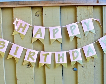 Gold and Pink Happy Birthday Banner