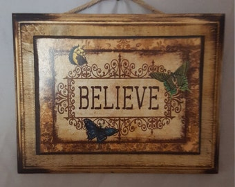 Solid Wood Hanger with Butterfly Believe Print