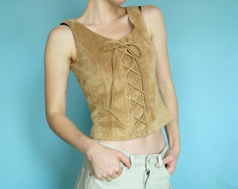 Vintage suede Lace-up leather sleeveless top