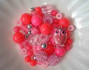 Bead Kit DIY Bubblegum Chunky Beads Pinks Pink Enamel Owl Charm Pendant