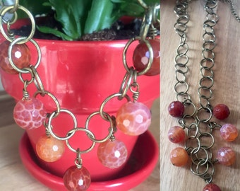 Autumn amber agate necklace