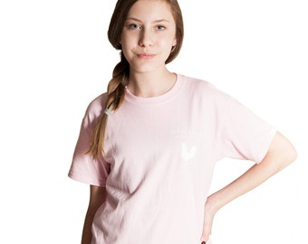 Meanwhile Back on the Farm Rooster Logo Pink Tee - Youth