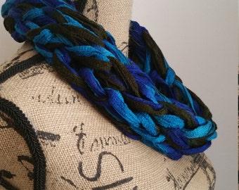 Beautiful Blues Knit Infinity Cowl Scarf