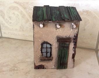 110- adobe house With Green Door & Roof , santa-fe house  Greytimberwolfcrafts