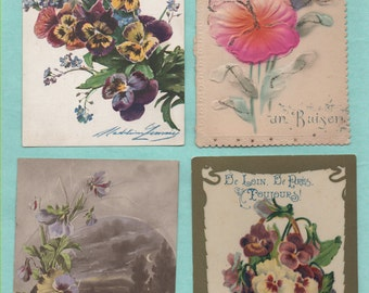 8 postcards old thoughts and violets/old postcard