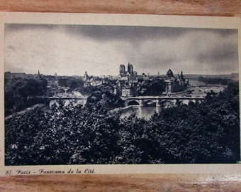 Vintage Paris Post Card From the 1930's Featuring Panoramic View of the City