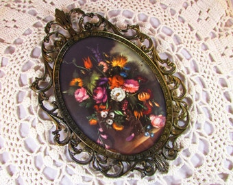 Vintage Brass Ornate Picture Frame with Picture of Flowers - Made in Italy