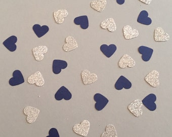 200 Navy and Silver Confetti Heart Confetti Glitter Confetti Shower Confetti Baby Confetti Wedding Confetti Birthday Confetti Bachelorette