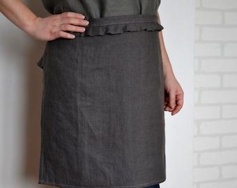 Linen apron, linen kitchen apron, linen cafe apron, linen woman apron,kitchen linens, apron, half apron, pinafore