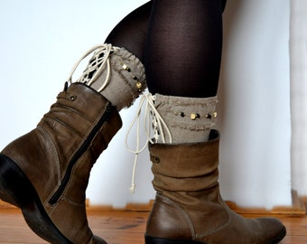 Linen boot cuff, Boot cuff , Linen cuff, Boot toppers, Boot buffers, Boot accessories, Women's boot cuffs