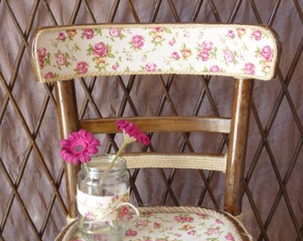 Wooden chair, vintage-rustic handmade chair, floral romantic chair, decorative chair with floral fabric and burlap ribbons