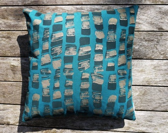 Large Emerald and Copper 'Hebble' Screen Printed Cushion